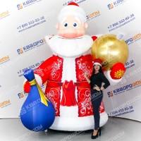 Уличная новогодняя фигура дед мороз с мешком и ёлочным шаром