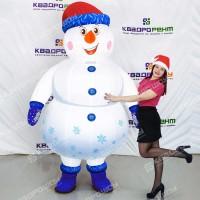 Надувной новогодний костюм снеговик