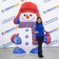 Надувной снеговик в шапке ушанке и рукавицах