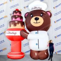 Надувной Медведь с тортом