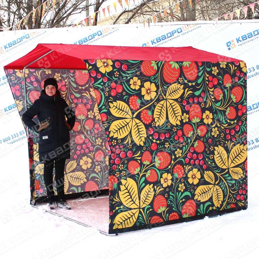 Каркасная палатка Черная Хохлома